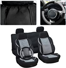 cciyu Seat Cover, Universal Car Seat Cover w/Headrest Cover/Steering Wheel/Shoulder Pads - 100% Breathable Washable Auto Seat Cover Replacement Replacement fit for Most Car(Black/Gray)