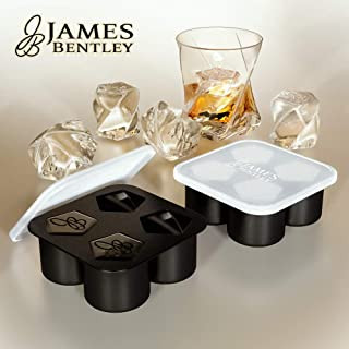 Whiskey Ice Cubes, 2 Large Ice Molds For Whiskey, Silicone Ice Cube Trays With Lid, Ice Cubes Reusable Jumbo Blocks, A Unique 4 Cavity Ice Cube Molds For Whiskey Rocks Bar Supplies Ice tray with lid