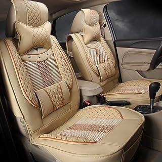 JKHOIUH Ajuste completo Juego de tela plana Cubierta de asiento de automóvil Meryl, Fit Focus Kuga Ecosport Mondeo Edge Juego de cubierta de asiento combinado con cubierta de volante y almohadilla del