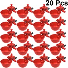 POPETPOP 20PCS/Set Chicken Waterer Cups - Bird Chicken Fowl Drinker Bowl Feed Automatic Adjustable Poultry Water Drinking Cups
