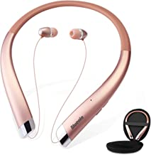 Bluetooth Headphones, Bluenin Wireless Neckband Headset with Auto Retractable Earbuds, Sports Sweatproof Noise Cancelling Stereo Earphones with Mic (Rose Gold)