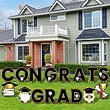 RUODON 16 Pieces Congrats Grad Yard Signs Waterproof Graduation Yard Signs Lawn Decorations with Stakes for Graduation Party Outdoor Lawn Decorations