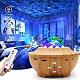Star Projector Night Light, Galaxy Projector, Starry Sky Projection Light Projector with Timer & 10 Color Effects, Bulit-in Bluetooth Speaker Sync and Remote Control for Kids Gift, Baby Bedroom(Brown)