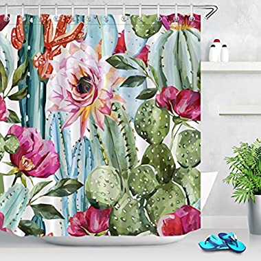 LB Anti Bacterial Waterproof Personality Polyester Fabric Bathroom Shower Curtain 3D Digital Printing Cactus Flowers Customized for Home/Travel/Hotel with Hooks,72x72 inch