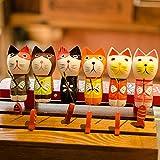 gotor® 雑貨 北欧 置物 インテリア 部屋装飾 店舗飾り ウッド製 アクセサリ 釣り猫 (6個セット)