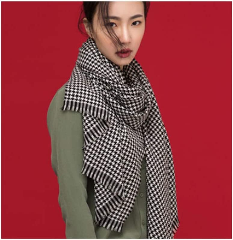 Rong Scarf Christmas Scarf Fashion Super Soft Luxurious Cashmere Feel Winter Warm Checked Shawl Wrap Scarf The Best Scarfs for Women (Color : Black+White)