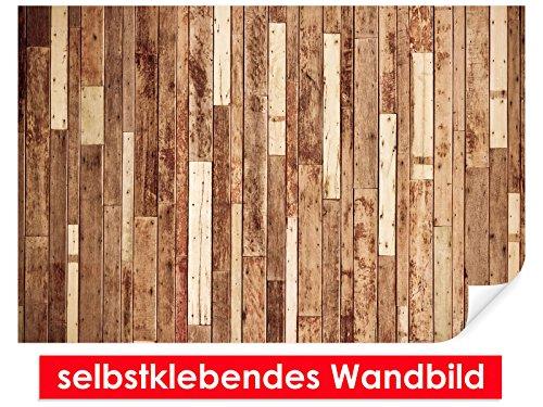 Image murale auto-adhésif Wood Wall – Facile à coller – Wall Poster Print, Wall Paper,, film vinyle avec point décoratif pour murs, portes, meubles et toutes les surfaces lisses de Trend murs, 90 x 60 cm