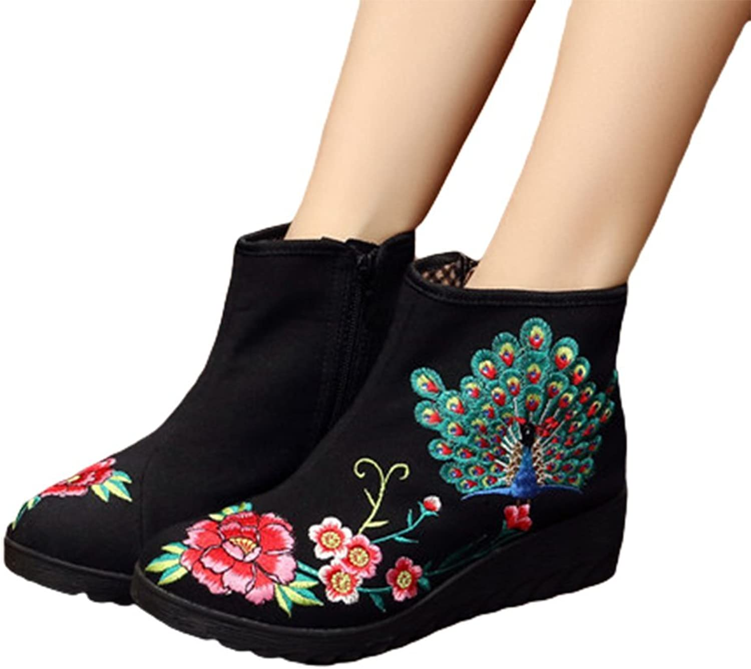 AvaCostume Womens Peacock Embroidery Wedge Heel Ankle Booties