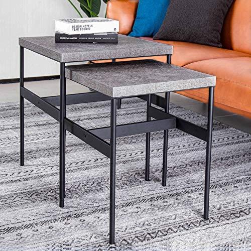 ALAMHI Tavolini da Salotto Set da 2 caffè Tavolini Sovrapponibili per Soggiorno semplicità Tavolini da caffè Prevenire la Ruggine (Grigio)