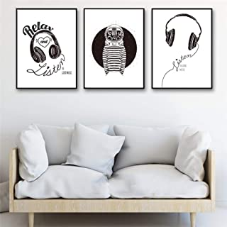 XIXISA Black and White Minimalist Wall Pictures Nordic Decor Headphones Music Space Modern Youth Gym Canvas Art Print Poster Painting 50x70cm No Frame