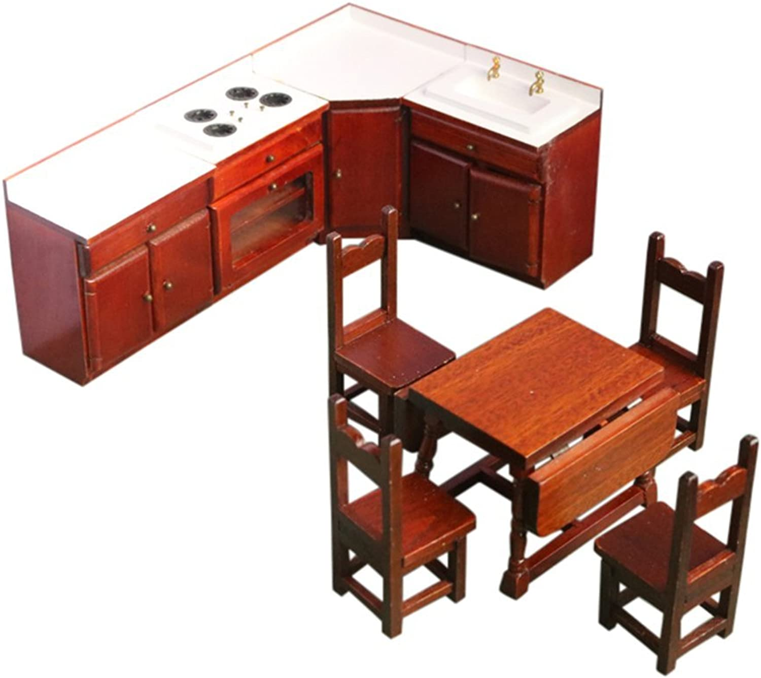 BESTLEE 1 12 Wooden Dollhouse Kitchen Furniture Sink and Stove Cabinet Table and Chairs Set