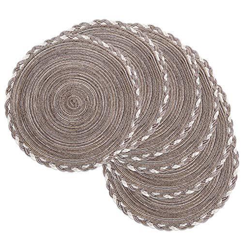 SHACOS Juego de 6 manteles Individuales Redondos de algodón Trenzado Antideslizante de algodón Redondo salvamanteles Individuales Lavables 38cm