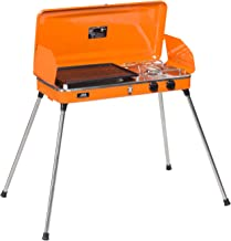 DOIT Outdoor Portable Gas Grill with Stand for BBQ & Camping,2 Burner,Grill with Hose and Adapter