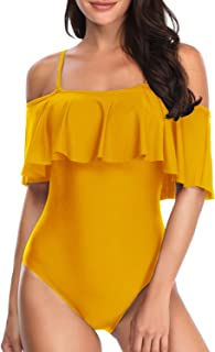 5f549101957 Tempt Me Women's One Piece Swimsuit Vintage Off Shoulder Flounce Ruffle Bathing  Suits