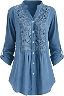 SOMESUN Women Large Size Lace Long Sleeve Shirts Casual V Neck Loose Button Down Blouses