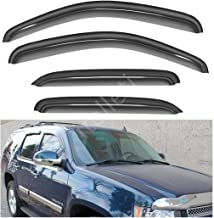 itelleti 4pcs Outside Mount Dark Smoke Sun/Rain Guard Front+Rear Tape-On Auto Window Visors For 07-14 Chevy Tahoe/GMC Yukon