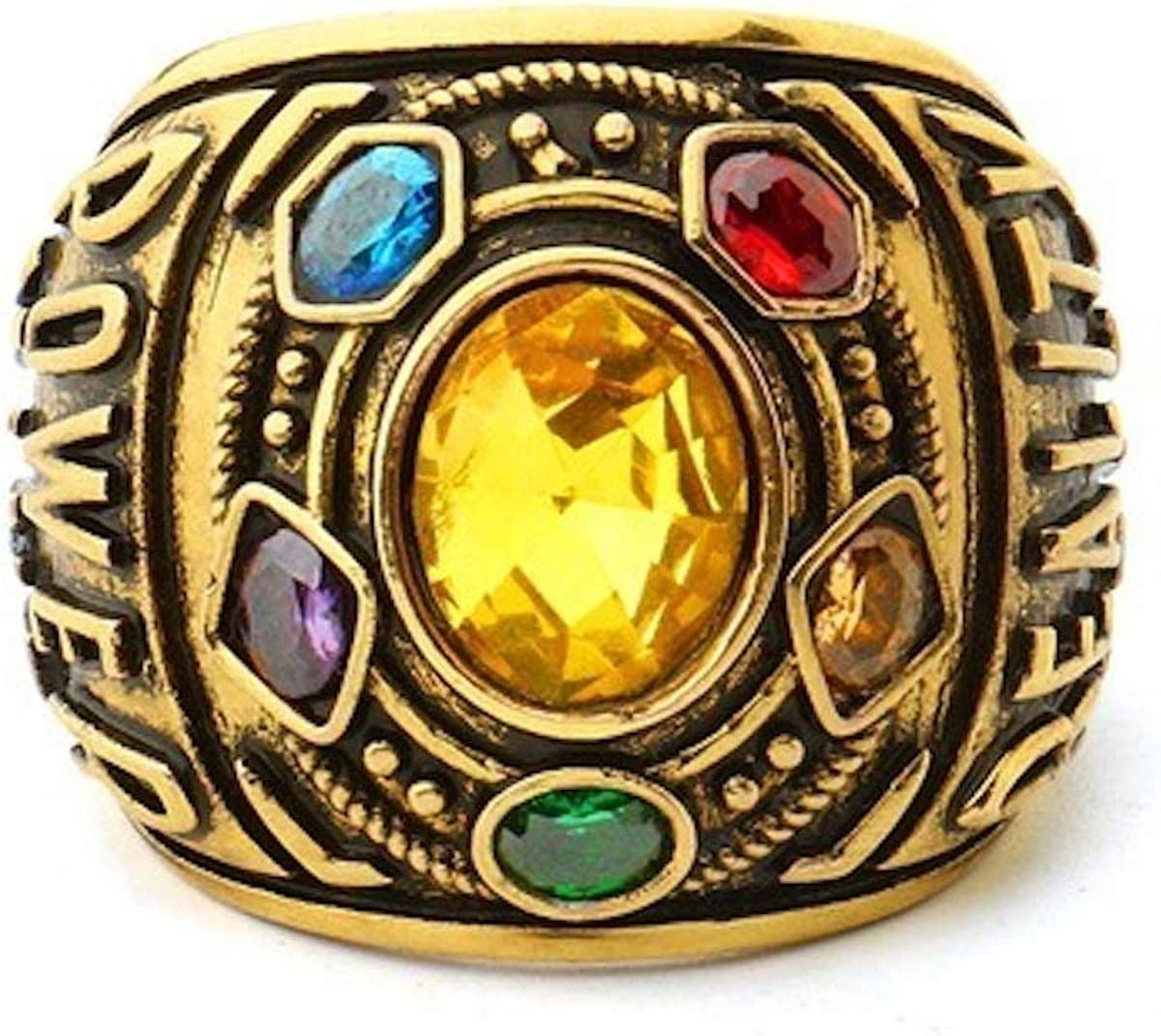 Hot Marvel Avengers Infinity Stones Ring For Men Stainless Steel Infinity War Soul Stone Power Thanos Crystal Ring Cosplay Golden Gauntlet Jewelry Costume Accessory Best Gift For Men Boys Husband