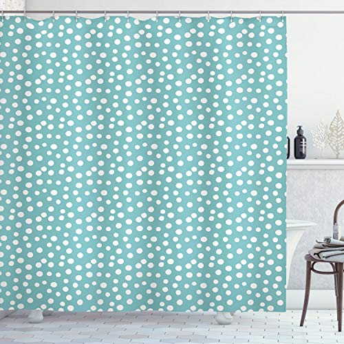 "Ambesonne Turquoise Shower Curtain, Retro Vintage 60s 50s Inspired Geometric Polka Dots Romantic Art Print, Cloth Fabric Bathroom Decor Set with Hooks, 75"" Long, White Blue"