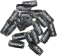 Snap Clips for Clip in Hair Extensions U-shape with soft rubber 6 Teeth Stainless Steel Material 20 Pcs/pack Large Size Black