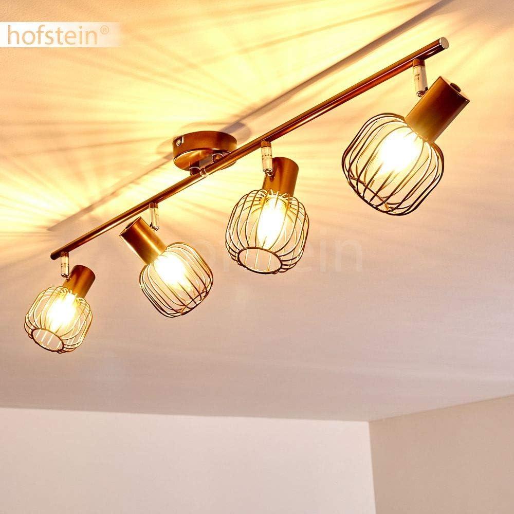 pour une ampoule E14 spot orientable au style r/étro avec effet lumineux au mur max 40 Watts Applique murale Cancun en m/étal marron compatible LED
