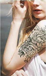 CQHUI Rose Peony Flower Girls Tijdelijke Tatoeages voor Dames Waterdichte Zwarte Tattoo Stickers 3D Blossom Lady Schouder ...