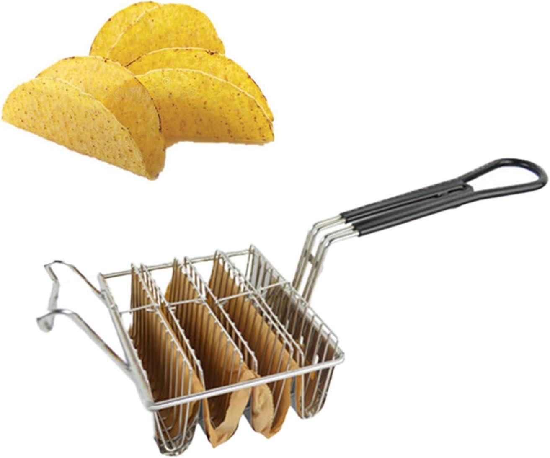Yinuoday Cesta de Tacos Sostiene 6 Conchas Freidora Profunda Cesta de Taco Soporte de Taco Freír Cesta con Mango de Agarre Taco Herramienta de Cocina