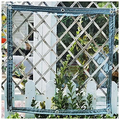LYRONG Lona Transparente Impermeable, PVC Lona Plegable Lonas Impermeables Exterior, con Ojales, para Casa/Jardín/Exteriores y Camping, Cuerda incluida, 380 g/m²,Transparent_2.5x3.5m/7.5x10.5ft
