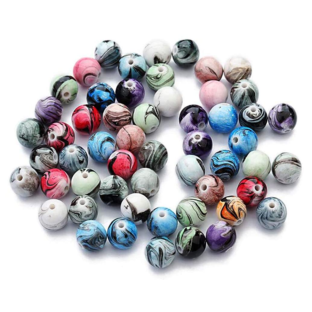 XGuangage Multi Color Acrylic Round Loose Beads in Ink Patterns Best for Bracelets Jewelry Making (8mm)