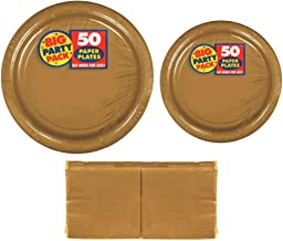 Serves 50 | Big Party Pack Gold 50-Set (Dinner Plates, Dessert Plates, Luncheon Napkins) Party Avenue Bundle-Pack | Comple...