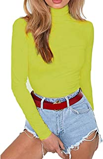Women's Long Sleeve Striped Basic Solid Round Neck Bodysuit Stretchy Leotards