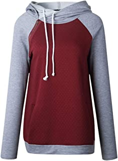 Kiminana Women's Hooded Tether Hit Colorblock Zipper Long Sleeve Sweater Top Sweatshirt Hoodies Spliced Color Casual Pullover