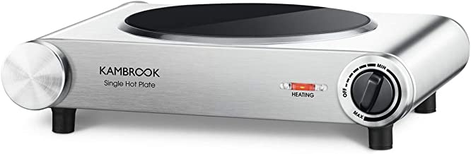 Kambrook Portable Hot Plate, Brushed Stainless Steel, KHP110BSS