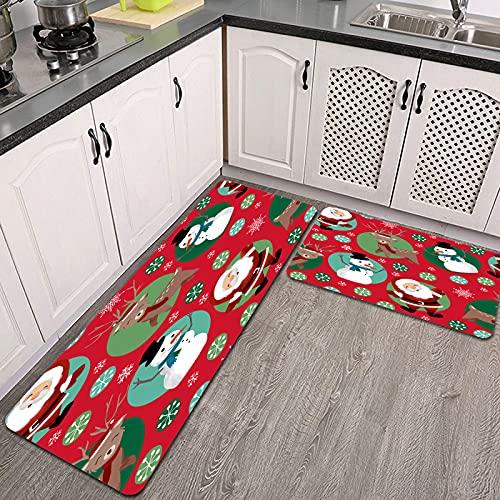 Juegos de alfombras de Cocina,CFLJTXP-42578,Antideslizantes Lavables de 2 Piezas Alfombra súper Absorbente