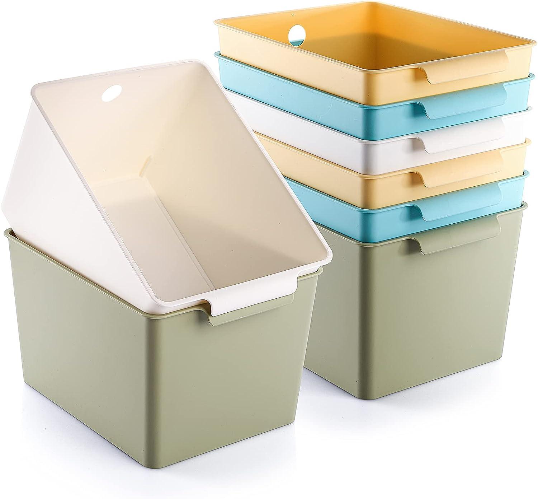 Kingrol 8 Pack Plastic Storage Baskets, Stackable Food Storage Organizer Bins for Home, Office, Nursery, Laundry Shelves Organizer, 9.5 x 7.5 x 6 Inch