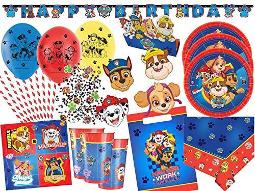 Amscan/Diverse Paw Patrol Partyset 75-TLG. - Party-Set Komplettset für 8 Kinder - Teller Becher Servietten Tüten Masken Konfetti usw.