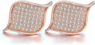 اقراط اذن عصرية بلون وردي وتصميم زخارف هندسية للنساء من باندورا اليمنت