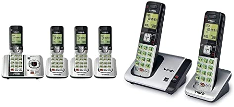 $114 » VTech CS6529-4 DECT 6.0 Phone Answering System, Silver/Black & CS6719-2 2-Handset Expandable Cordless Phone with Caller ID...
