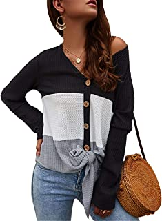RUUHEE Loose V Neck Tie Knot Cute Blouse Button Down Fashion Knit Shirts Women