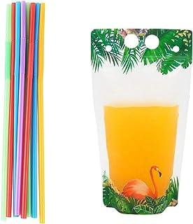 100pcs Flamingo Design Drink Bag Transparent Disposable Beverage Squeeze Pouches Portable Juice Pouch with Art Straw (50pc...