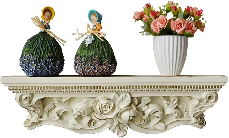 Ledge Shelf Display Rack Home Living Room Resin Carved Bookshelf (color   White, Size   56  12  16.5cm)