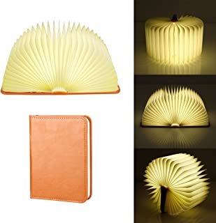 充電式LEDムード照明、集光器マルチカラーナイトライト木製折りたたみ本型ライト、ブックランプ、テーブルランプ、ウォールランプ、フロアランプ、ベッドサイドランプ、電気スタンド(2000mAh)として最適