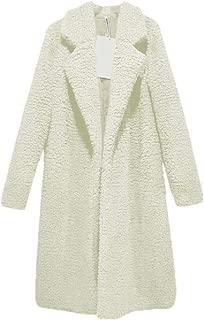 Howely Women Fall Winter Mid Long Faux Fur Fold-Collar/Lapel Warm Wrap Coat