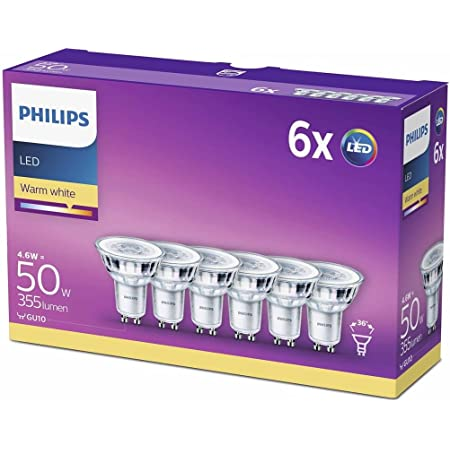 Philips Lighting GU10 Cristal Bombillas, 4.6 W equivalentes a 50 W en incandescencia, 355 Lúmenes, Blanco Cálido, 6, 6 Pack