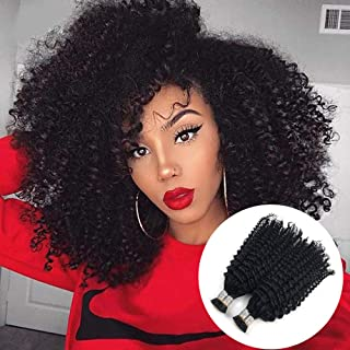 Mongolian Kinky Curly Hair 100g Keratin Capsules Human Fusion Hair Nail i tip hair extensions afro kinky curly Remy Pre Bonded (18, Natural Color)