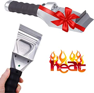 Heated Snow Ice Scraper for Car - Electric Heated Auto Windshield Window Ice Scrapers with Flashlight and Squeegee for Cars, Truck or SUV - Powered 12V Cigarette Socket Save Time Cleaning Ice: image