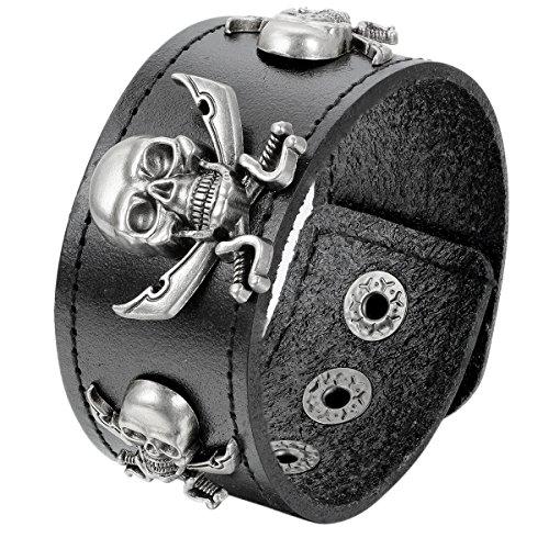 JewelryWe Schmuck Herren Armband, Piraten Gotik Totenkopf Schädel Leder Armreif, Echtleder, Druckknopf, Schwarz
