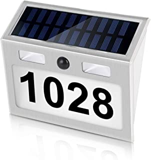 Solar Door Plaque Light, LED Outdoor Illuminated with Solar Motion Sensor Light Outdoor Waterproof,Wall Mount,Auto on/Off Customized Letter and Numbers