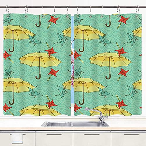Cortina de Cocina,Coloridos Paraguas y grullas de Origami en la ilustración de Estilo asiático, Cortinas Opacas térmicas Forradas para Ventana, 55 x 39 Pulgadas, 2 Paneles, Juego