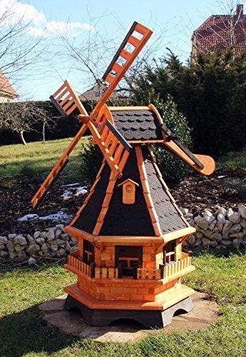 Große Windmühlen, Windmühle Holz mit Windschwert Typ 18.1 und Solarbeleuchtung (groß Solar bunt, Schwarz)