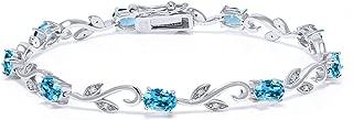 925 Sterling Silver Swiss Blue Topaz and Diamond Greek Vine Tennis Bracelet, 4.63 Cttw, 7 Inch
